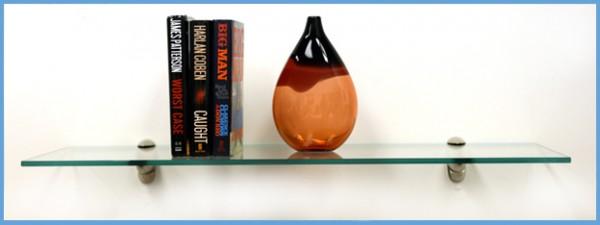 """6"""" x 30""""Heron Glass Shelf with Brackets"""