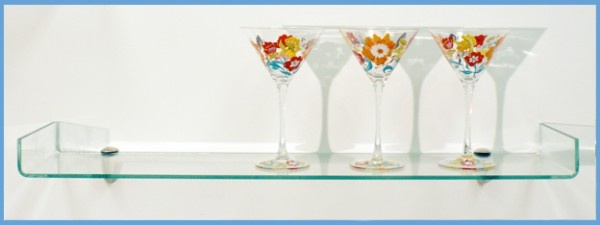 Osprey Floating Glass Shelves - Frosted or Clear Glass