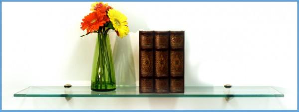 """6"""" x 36""""Peacock Glass Shelf with Bracket"""