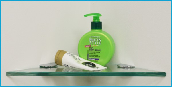 """8"""" Triangle Shower Shelf with 2 Half Round Clamps"""